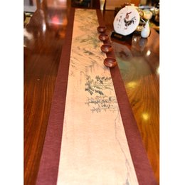 table cloth painting table runner chinese style table cloth polyester cotton tea cloth 3 sizes - Discount Table Linens