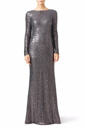 $enCountryForm.capitalKeyWord UK - Grey Sequins Mermaid Long Bridesmaid Dresses With Long Sleeves Plus size Sexy Open Back Formal Wedding Party Gowns Boat Neck Plus Size