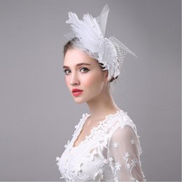 classic white veil NZ - Bridal Veil Accessories White Feathers Hat Clip Accessories For Christmas Party Wedding Dresses Hair Wear stage performance