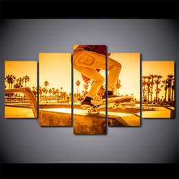 framed sports posters 2019 - 5 Pcs Set Framed HD Printed Sunset Street Skateboard Sports Wall Art Picture Poster Canvas Painting For Living Room disc