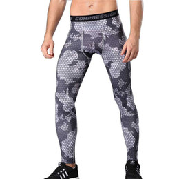 China Men's Camouflage compression pants fast-drying trousers basketball running fitness pants pro sports tights long pants suppliers