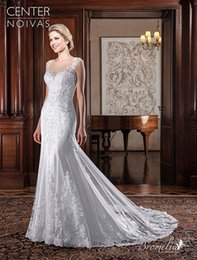Miss Brazil Dresses NZ - 2018 Brazil Simple Mermaid Wedding Dresses Sheer Neck Sweep Train Illusion Back Bridal Gowns Wedding Dress Custom Made