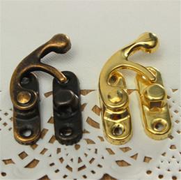 12pcs vintage antique metal lock horn curved buckle gift je welry box with screw door hardware - Antique Door Hardware