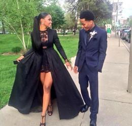 Hot 2k15 negro vestidos de baile dos piezas de cuello joya vestido corto de encaje con manga larga de barrido de tren tafetán negro chaqueta por encargo en venta