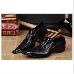 $enCountryForm.capitalKeyWord NZ - Arrival Black Snake Skin Genuine Leather Handmade Metal Tip Spikes Pointed Toe Slip On Formal Dress Shoes Sexy Fashion Mans Wedding Shoes