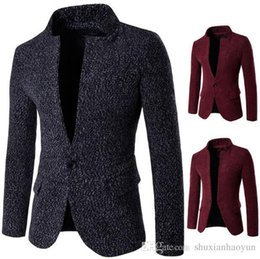 Barato Desenhos De Casaco Exclusivos-New Style One Button Mens Blazers Jacket Unique Design Long Sleeve Stand Collar Casual Slim Fit Men Blazer Coat
