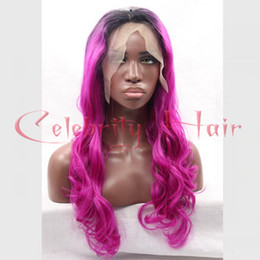 Shiny black hair online shopping - Top Quality Synthetic Natural Ombre Wigs Black To Shiny Pink Lace Front Wigs With Baby Hair Glueless Synthetic Lace Front Wig