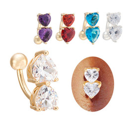 $enCountryForm.capitalKeyWord Canada - Cute Body Jewelry Yellow White Gold Plated Cubic Zirconia CZ Double Hearts Piercing Navel Bell Button Ring Festive Gift