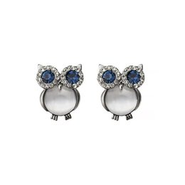 Stud Guns UK - New Design Owl Earrings Zinc Alloy Opal Black Gun Plated And Gold Plated Stud Earrings For Women Fashion Brand Earring Jewelry