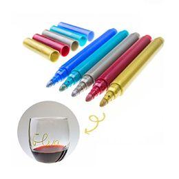 Пользовательские персонализированные свадебное событие Vino маркер металлический бокал ручки DIY Кубок или пометить вино или любые стеклянные бутылки