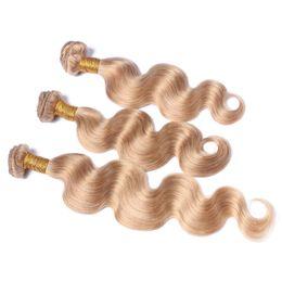 Discount 7a grade virgin hair bundles - Honey Blonde Brazilian Virgin Hair Body Wave Human Hair Weave 3 Bundles Color 27# Grade 7A Brazilian Wavy Remy Hair Exte