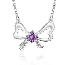 $enCountryForm.capitalKeyWord Canada - best gift Bowknot Purple sterling silver plated jewelry Necklace for women DN601,wedding 925 silver Pendant Necklaces with chain