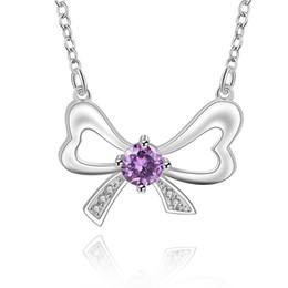 Best Wedding Pendant Australia - best gift Bowknot Purple sterling silver plated jewelry Necklace for women DN601,wedding 925 silver Pendant Necklaces with chain