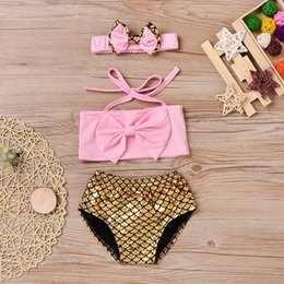 Pantalones Cortos De Baño Baratos-Mikrdoo Cute Baby Girl Bikini recién nacido High Quality Pink Bow Tops + Gold Shorts + Hairband 3PCS traje de baño niñas Niños Bowknot Swim Wear Top Clothes