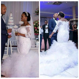 Barato Vestidos Brancos Personalizados-Customized South African White Mermaid Wedding Dress Bateau 3/4 Manga comprida Lace Appliques Tiers Skirt Bridal Gowns Beaded Pearls 2017