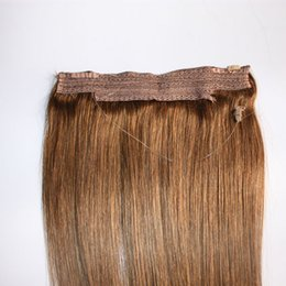 China Hot Sale Brazilian Human Hair No Clips Halo Flip in Hair Extensions, 1pc 80G 100G Easy Fish Line Hair Weaving Wholesale Price suppliers