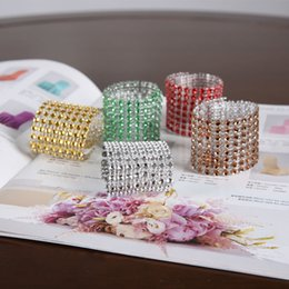 wedding chair decorations diy Canada - Wholesale- 20pcs color 8Row Diamond Mesh Rhinestone Bow Covers Holders Wedding Napkin Rings DIY Decorations chair sashes Table Decor Craft