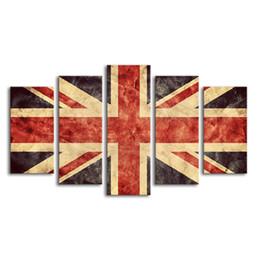 $enCountryForm.capitalKeyWord UK - 5 Pieces Union Jack Giclee Painting Creative Flag of Great Britain Canvas Printing Wall Art Unframed(20x40cmx2 20x50cmx2 20x60cmx1)