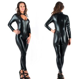 $enCountryForm.capitalKeyWord Canada - 5XL Sexy Novelty Women Jumpsuit Black Faux Leather Catsuit Zipper Front To Crotch Bodysuit Cosplay Costume