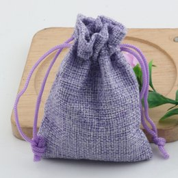 linen jute bag 2019 - Hot ! 50pcs 7*9cm Purple Linen Fabric Drawstring bags Candy Jewelry Gift Pouches Burlap Gift Jute bags cheap linen jute