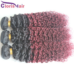 cheap curly red hair Canada - Brazilian Ombre Curly Hair 1b 99j Dark Roots Burgundy Two Tone Kinky Curl Hair Extensions Cheap Mink Brazillian Wine Red Ombre Weave Bundles