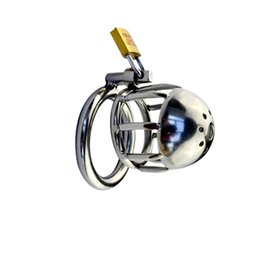 Discount chastity locks for males - New Design Stainless Steel Small Male Chastity Cage Cock Rings Cock Cage Penis Ring Chastity Device Penis Lock for Man G