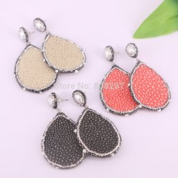 $enCountryForm.capitalKeyWord Australia - 5Pairs Fashion Fishskin Leather earring, waterdrop shape pave rhinestone pearl dangle earrings in mixed color