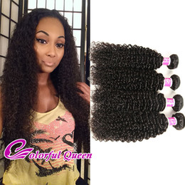 Colorful Human Hair Australia - Colorful Queen Malaysian Kinky Curly Hair 4 Bundles Deals 100% Virgin Human Hair Weft for Micro Braids Malaysian Curly Hair Weave Bundles