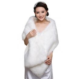 Cheap long fur Coats online shopping - Elegant White Long Bridal Wraps Fake Faux Fur Hollywood Cheap Stock Wedding Jackets Outdoor Cover up Cape Stole Coat Shrug Shawl Bolero