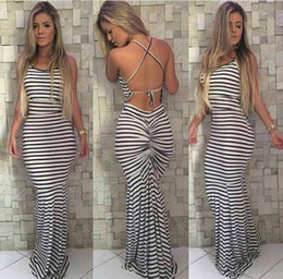 Longue Robe Blanche Pas Cher-Black and White Stripes Elastic Tight Condole Sexy Backless Dress Womens Summer Celeb Boho Long Robe Maxi
