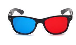 Al por mayor-2pcs / lot al por menor rojo azul de plástico de plástico gafas 3D TV película dimensional anáglifo enmarcado gafas de visión 3D para proyector led