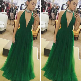 Dark Green A Line Tulle Beaded Collar Long Prom Dresses 2018 Sexy Plunging  V Neck Satin Top Formal Evening Gowns Cheap Fashion Party Wear 40f5555e7