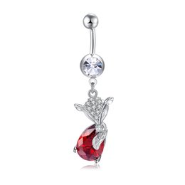 $enCountryForm.capitalKeyWord UK - 18K White Gold Plated Red Purple CZ Fox Belly Piercing Ring for Sexy Women for Bar Porm Party