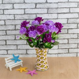 Wedding Display Cases Canada - Casing Small Rose Artificial Flowers 5-branch 35cm Length Silk Cloth Simulation Fake Flower Home Decoration Plants