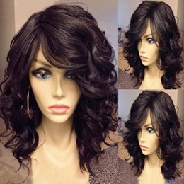short wavy hair styles NZ - 180%density american wavy Bob Human Hair Wigs For Black Women with side bang brazilian hair Full natural 14inch lace front Wig bob style