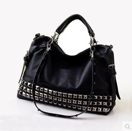 Discount Black Studded Handbags Leather | 2017 Black Studded ...