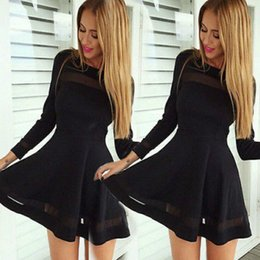 Robes De Bandage Polyester En Gros Pas Cher-Vente en gros - 2016 New Fashion Women Bandage Bodycon Chiffon Mini Dress Long Sleeve Evening Sexy Party Hot Mini Dress