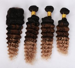 Ombre Human Hair Extensions Closure Canada - Deep Wave Peruvain Virgin Hair Extensions Ombre 1b 4 27 Three Tone Honey Blonde Human Virgin Hair 3 Bundles With Lace Closure