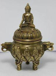 China Pole Australia - 5.5 inch   Chinese folk collection of bronze Buddha dragon Incense Burner