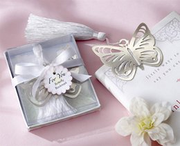 $enCountryForm.capitalKeyWord NZ - 100pcs lot Butterfly Bookmark with Tassels Wedding Favors Stainless Party Gift Box Boys and Girls Baby Shower Free shipping
