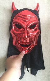 red mask festival NZ - New Cosplay Delicated Red Devil With Cloth Mask Festival Party Halloween Masquerade Mask