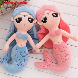 $enCountryForm.capitalKeyWord NZ - Beautiful Cute Soft Stuff Plush Little Mermaid Dolls with Curved Tail Gifts Toys For Children Girls Christmas Blue Sky 30cm