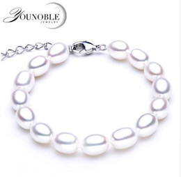Wedding Freshwater Pearl Bracelet 8 9mm For Women JewelryReal Natural Bracelets 925 Silver Girl Best Gift Birthday Top Quality