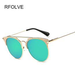 Reflective Lenses Sunglasses Designer Canada - Wholesale-RFOLVE Newest Fashion Women Brand Designer Metal Frames Reflective Women Sunglasses Mirror lenses gafas de sol RF8846 Classic