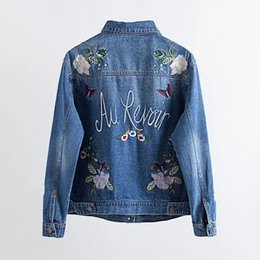 flower jackets ladies 2019 - 2017 New Fashion Autumn Winter Women Jeans Bomber Jackets Lady Luxury Floral Embroidery Long Sleeve Turn-down Collar Den
