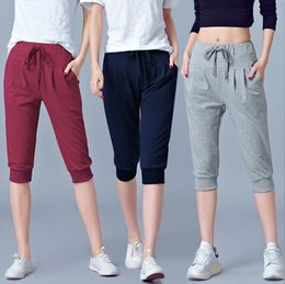 $enCountryForm.capitalKeyWord Canada - Good A++ High waist stretch seven female summer thin section sports loose Harlan pants 200 pounds fat mm large yards WS014 Women's Shorts