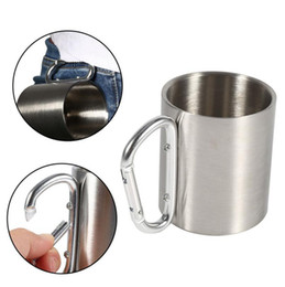 China 220ml Stainless Steel Camping Mug Hiking Sports Cup With Carabiner Hook Portable Outdoor Camping Cup OOA2526 cheap wholesale camping water bottles suppliers
