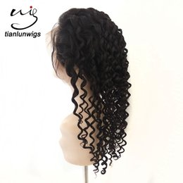 peruvian deep wave full lace wigs UK - fast delivery in stock deep wave natural color human hair full lace wig bleached knots, real human hair lace front new one wig