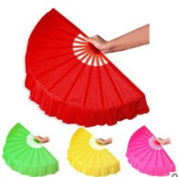 Folk Art Christmas UK - DHL Free shipping 200pcs Chinese folk art Four color Chinese silk dance fan KungFu fan