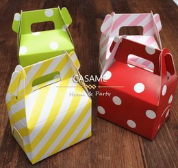 Barato Diy Favores De Partido Caixas De Presente-Atacado- 60pcs aniversário papel candy box casamento favores polka dot candy caixas Kids Party Favor Box DIY Gift Box Supplies Polka Candy Bag